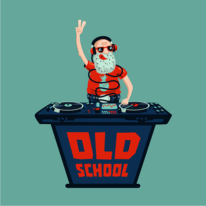 Old school retro party. Senior adult dj with vinyl.