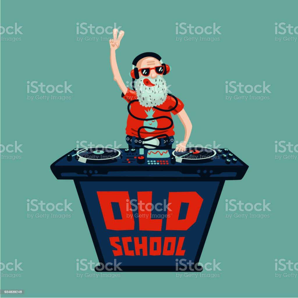 Fiesta retro de la vieja escuela. Dj adulto Senior con vinilo. - ilustración de arte vectorial