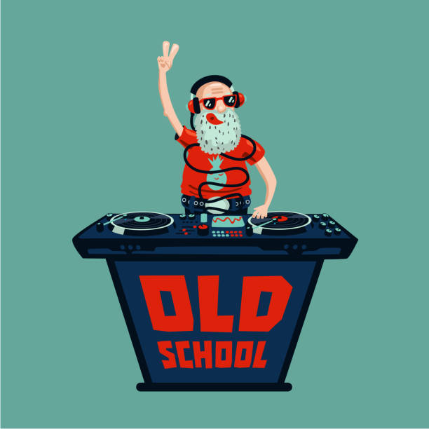 Old school retro party. Senior adult dj with vinyl. Senior adult dj is playing music.Old school retro party. Hip-hop poster. one senior man only illustrations stock illustrations