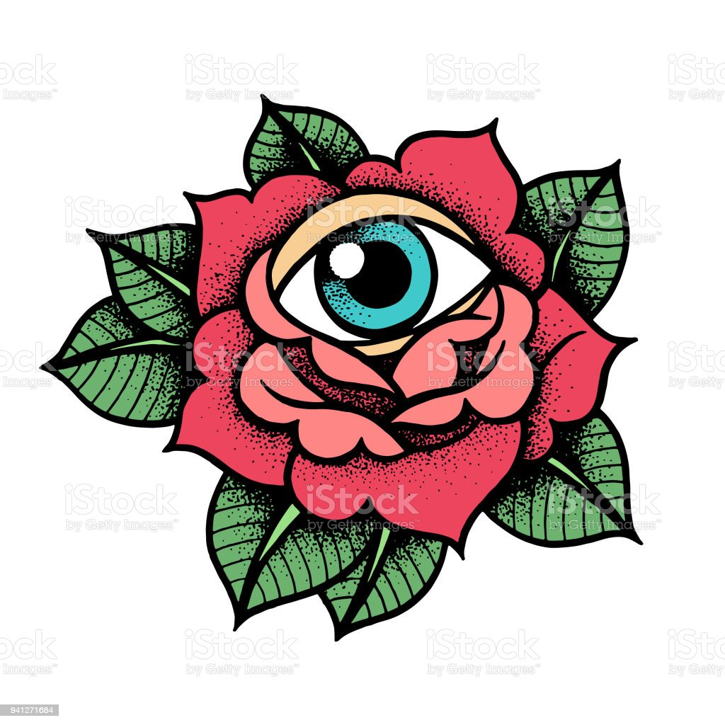 Old School Rose Tattoo With Eye Stock Vector Art More Images Of