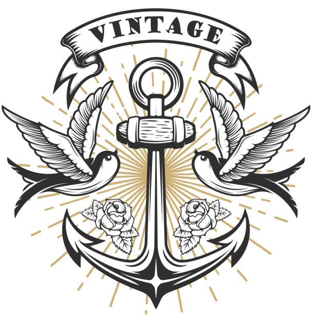 illustrations, cliparts, dessins animés et icônes de old school hirondelle illustration de style avec l'ancre. illustration de style tatouage. - tatouages d'oiseaux