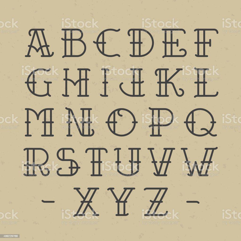 Old School Tatouage Alphabet – Cliparts vectoriels et plus