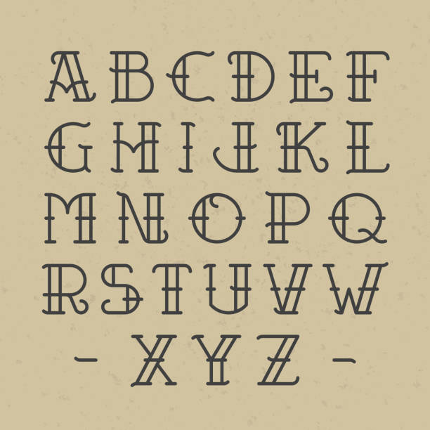 Old school tattoo alphabet vector art illustration