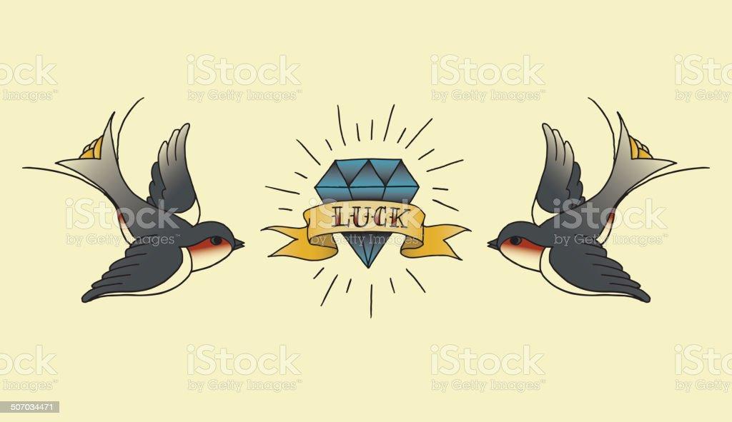 old school tatouage arrière-plan - clipart vectoriel de Amour libre de droits