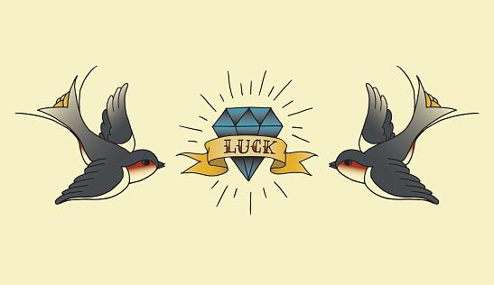 Diamond tattoo stock illustrations