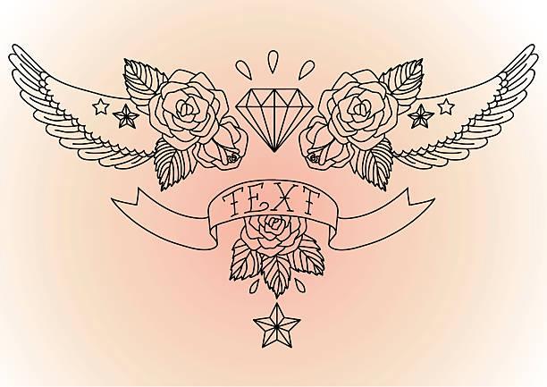 Old school tatuaje negro. - ilustración de arte vectorial