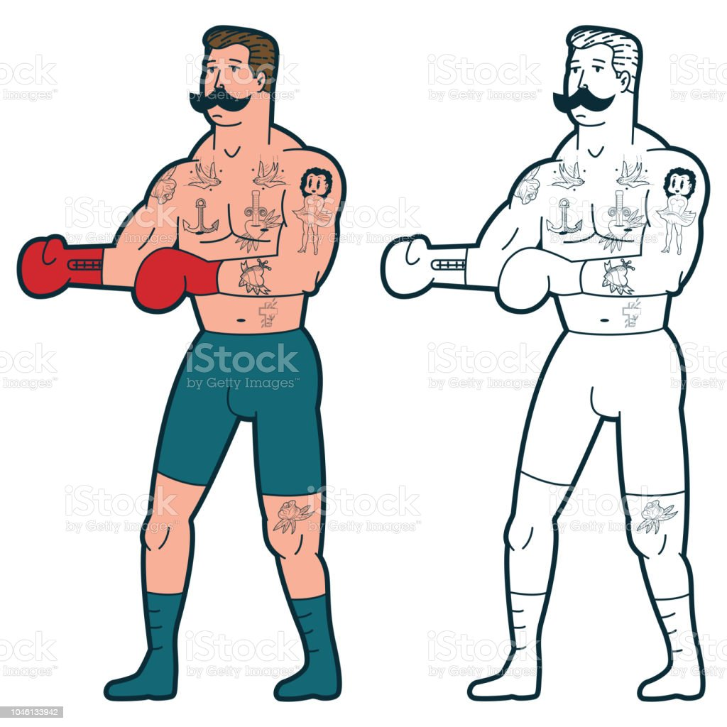 Old School Tattoo Design Boxer In Gloves Vector Cartoon Traditional