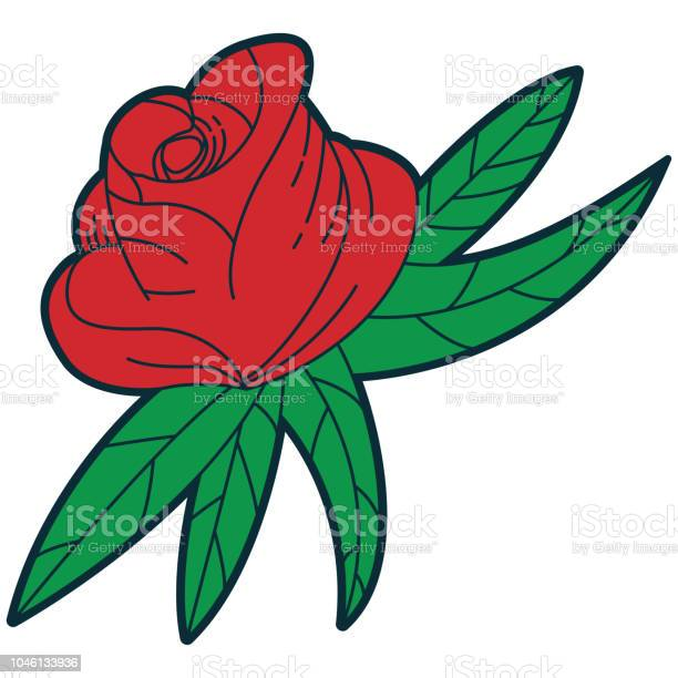 Old school tattoo design red rose vector cartoon traditional vintage vector id1046133936?b=1&k=6&m=1046133936&s=612x612&h=hauhxezcgvmkmb98vvc92czqrpctrbzxxtdr3vr88da=