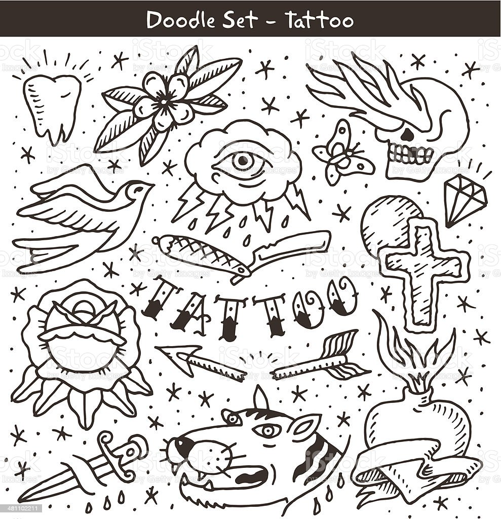 old school tattoo doodle set vector art illustration