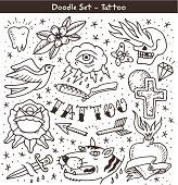 old school tattoo doodle set