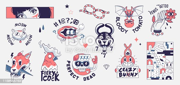 Old school tattoo elements. Cartoon tattoos in funny style. Vector