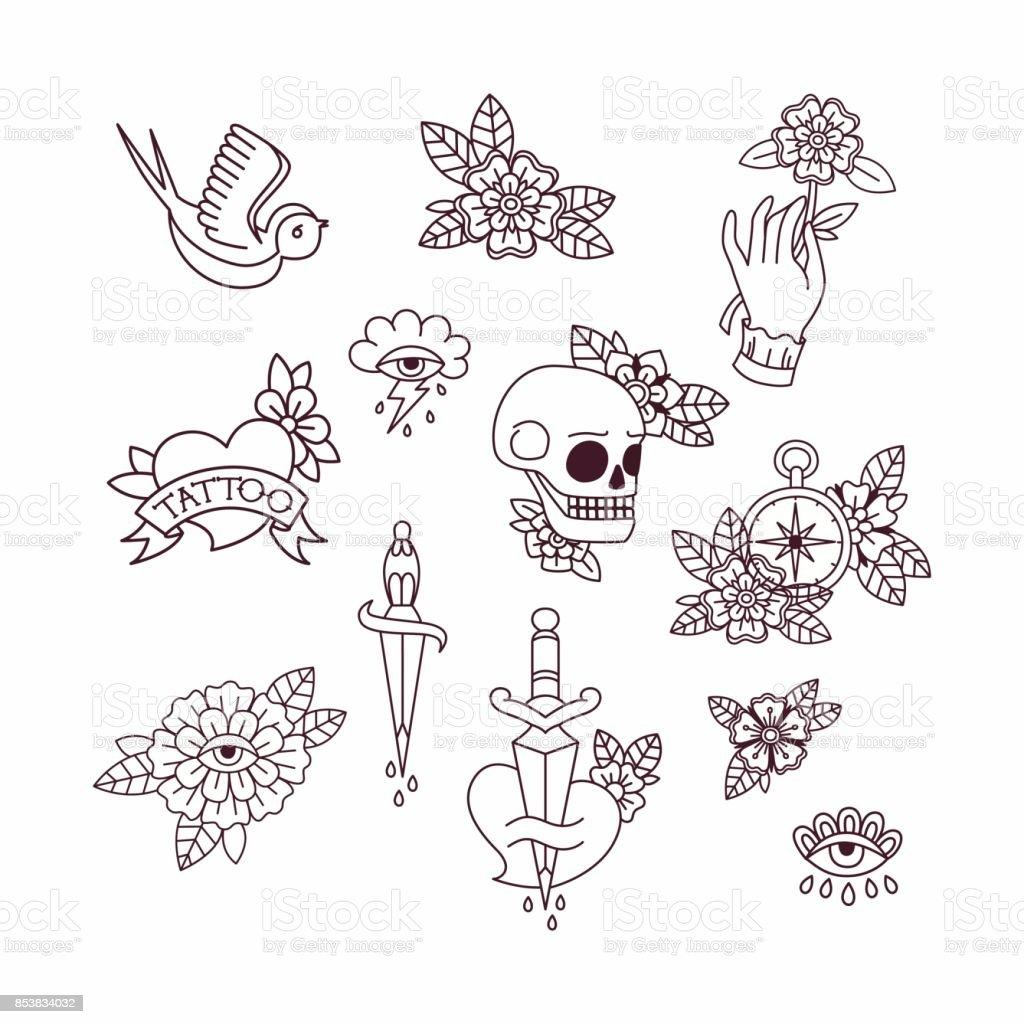 Elementos do tatuagem da velha escola. - ilustração de arte em vetor