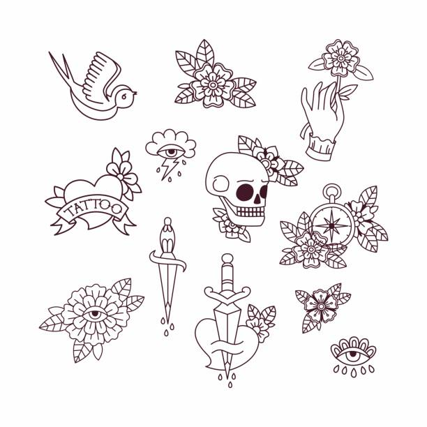 illustrations, cliparts, dessins animés et icônes de éléments de tatouage old school. - tatouages diamants