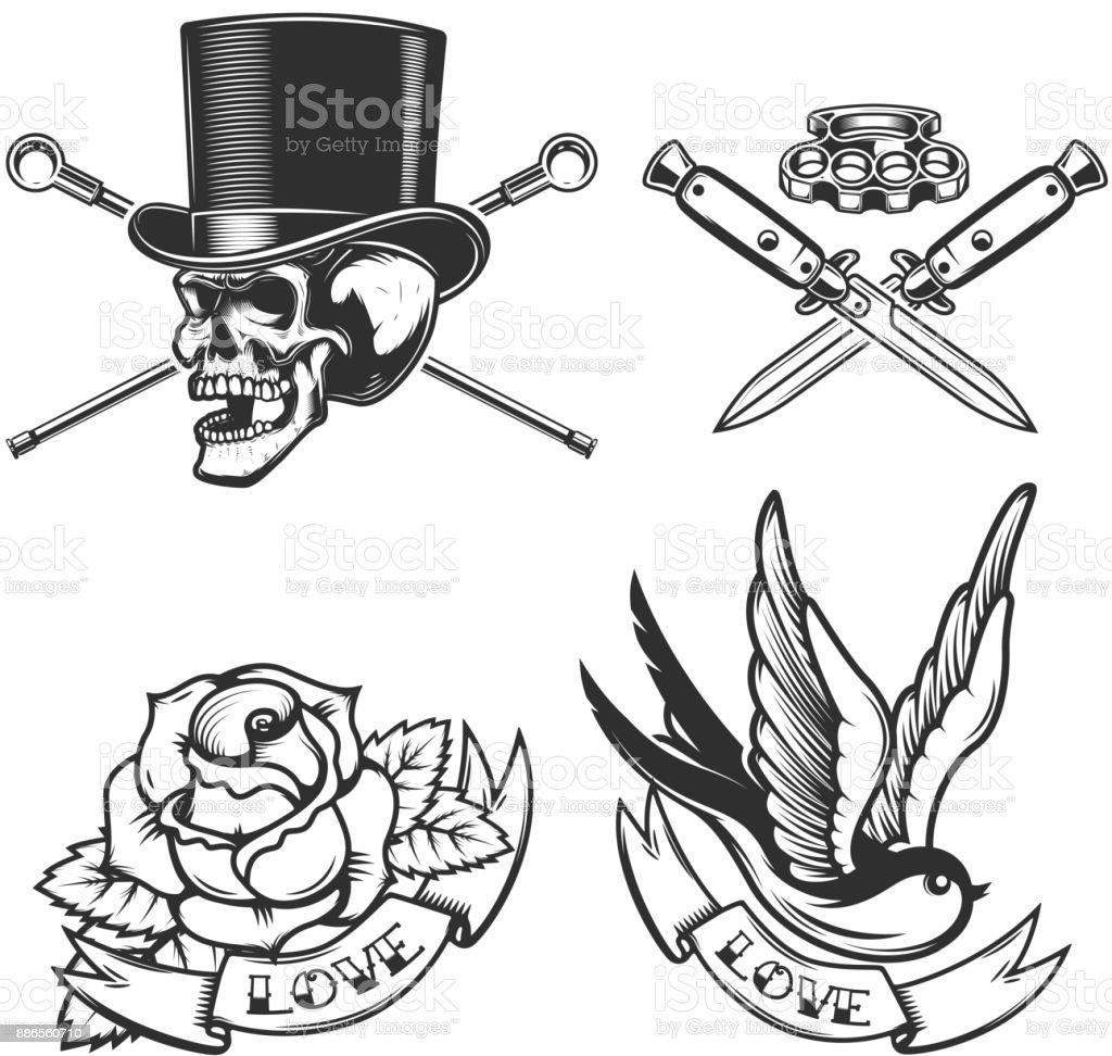 Oldschool Tattoo Embleme Vogel Schädel In Hut Rosenblüte Gekreuzte ...