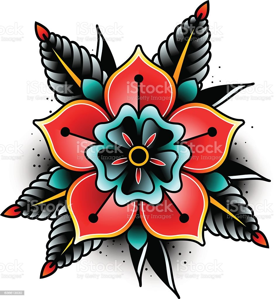 Fiori Old School.Old School Tattoo Flower Stock Illustration Download Image Now
