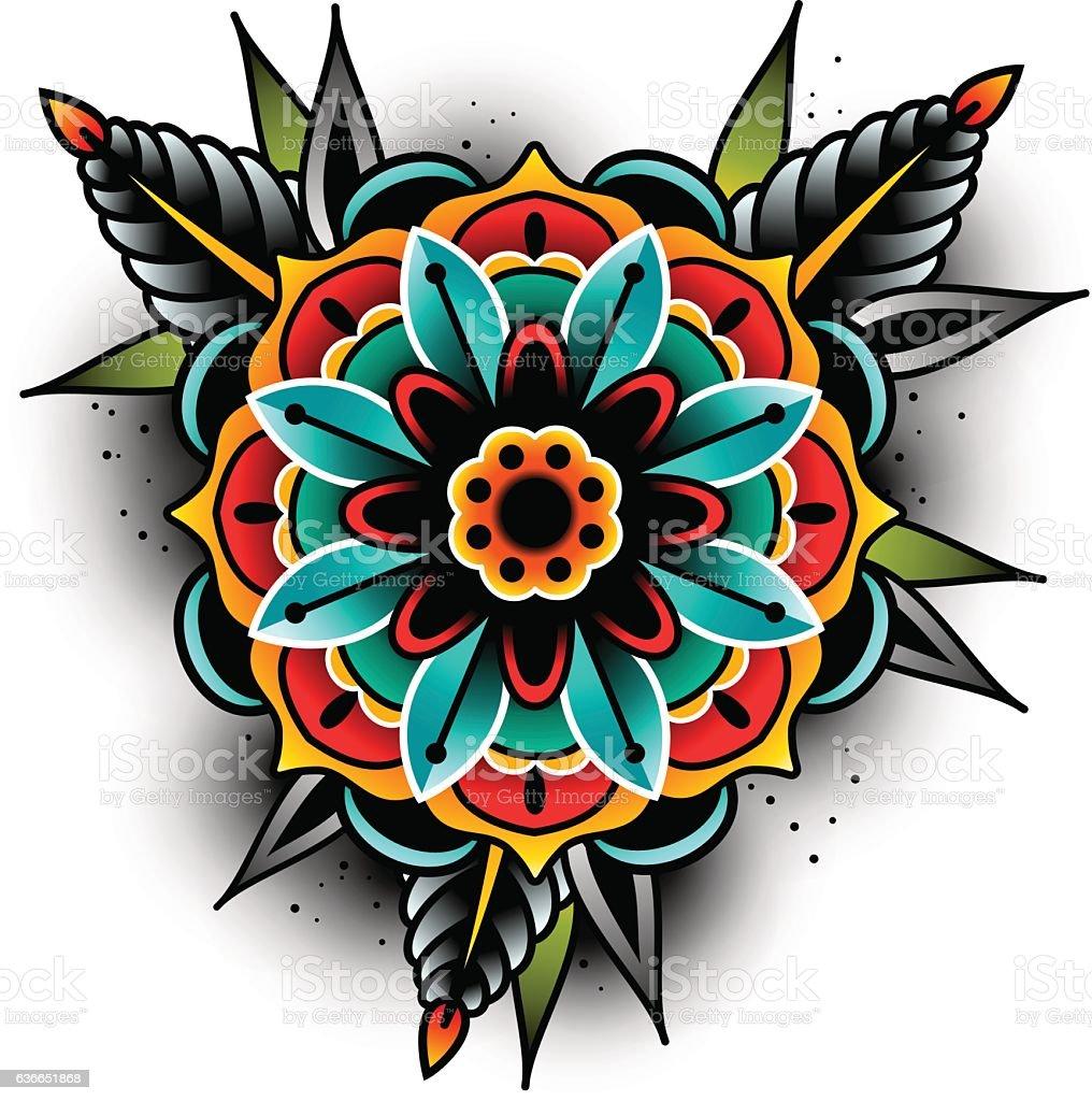Vetores De Old School Tatuagem Flor E Mais Imagens De