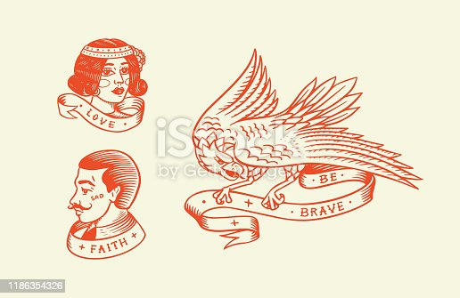 Old school Tattoo. Hipster man and woman and eagle. Engraved hand drawn vintage retro sketch for badge or logo