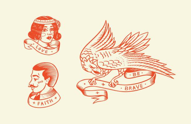 ilustrações de stock, clip art, desenhos animados e ícones de old school tattoo. hipster man and woman and eagle. engraved hand drawn vintage retro sketch for badge or logo - tatuagem