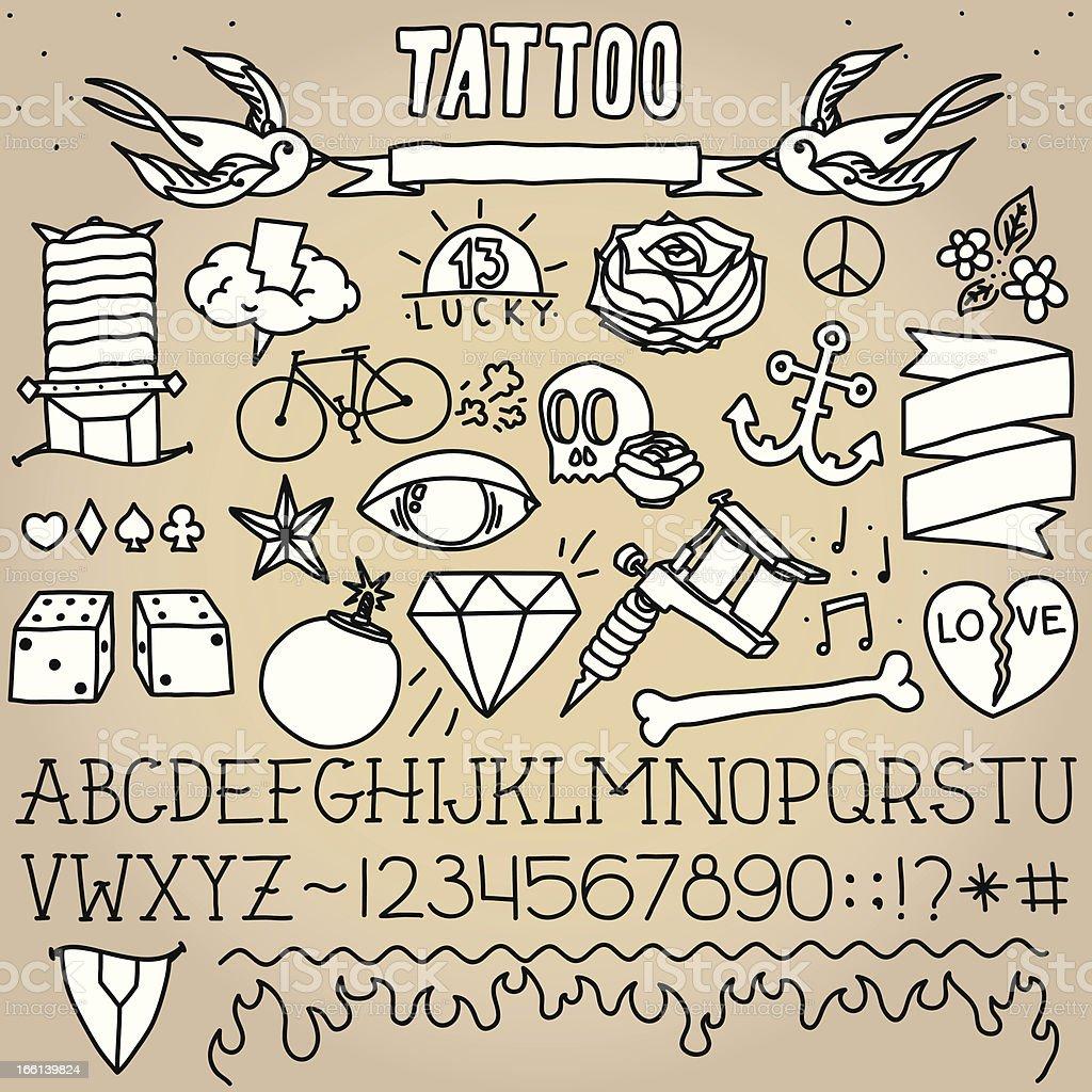 Old school tattoo objects vector art illustration