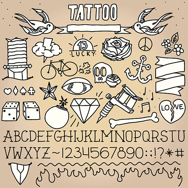 Old school tatuaje objetos - ilustración de arte vectorial
