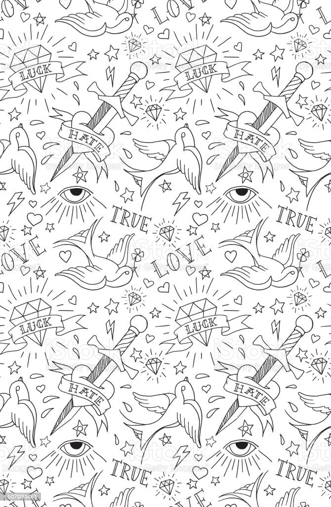 old-school-tattoo Muster – Vektorgrafik