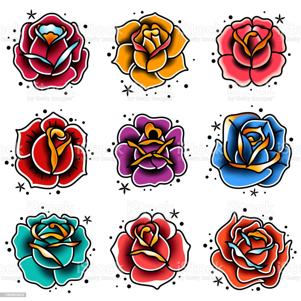 Old School Tattoo Roses Set Stock Vector Art More Images Of