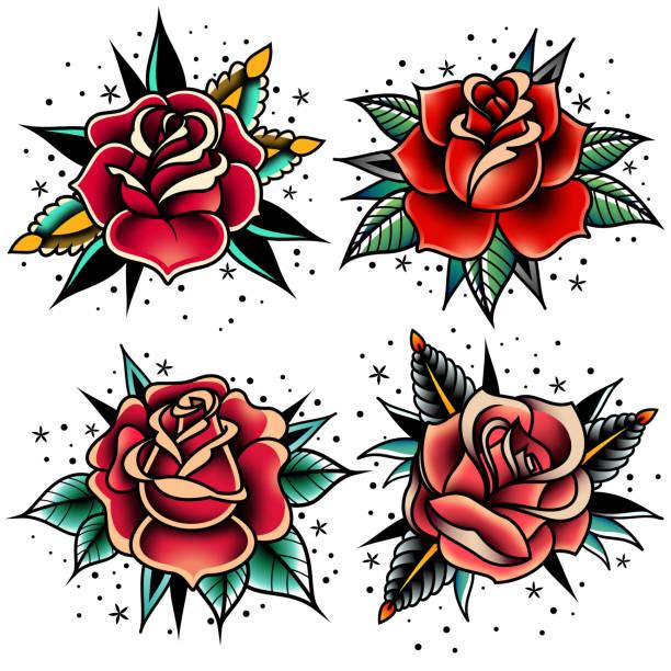 oldschool tattoo rosen set - rose stock-grafiken, -clipart, -cartoons und -symbole