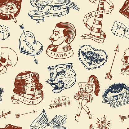 Old school Tattoo Seamless pattern. Hawaiian hula dancer woman, lighthouse, panther, skull and snake. Engraved hand drawn sketch for print