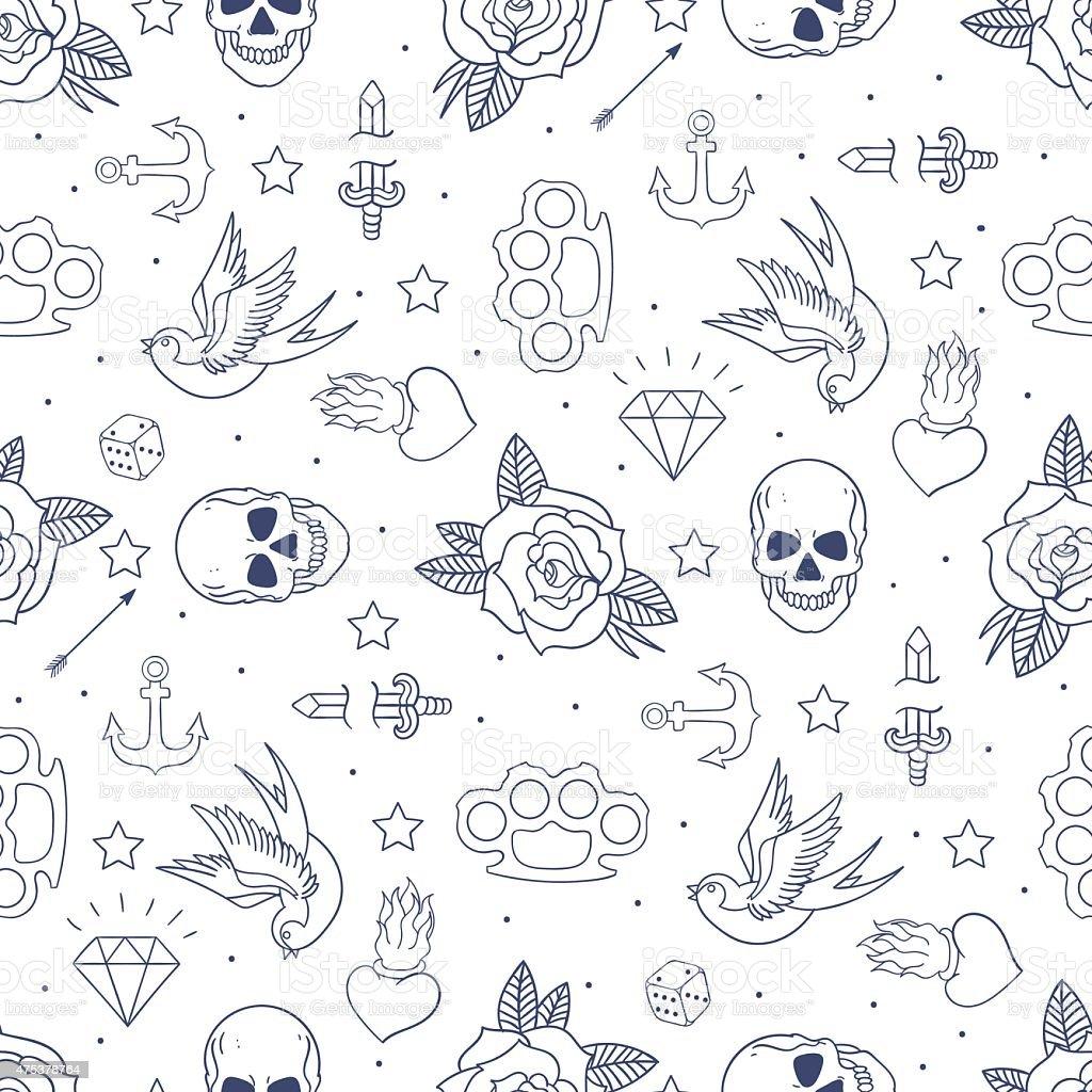 Old school tattoo seamless pattern vector art illustration