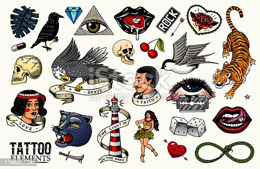 istock Old school Tattoo set. tiger and lips, eagle and swallow, skull and bird in rock style. Engraved hand drawn vintage retro sketch for notebook or logo or t-shirts 1186357295