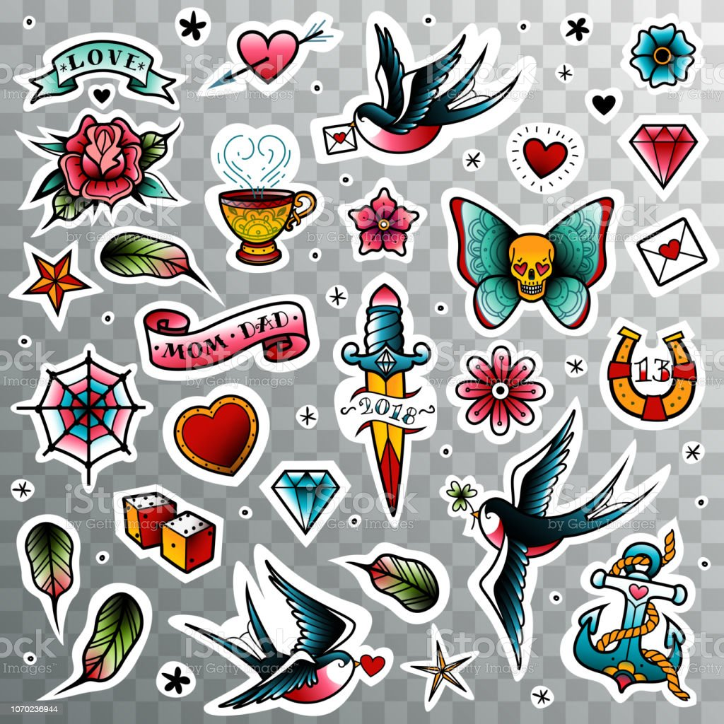 Old School Tattoo Set Stock Illustration Download Image Now