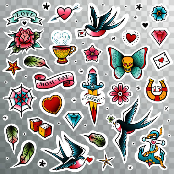 illustrations, cliparts, dessins animés et icônes de ensemble de tatouage old school - tatouage