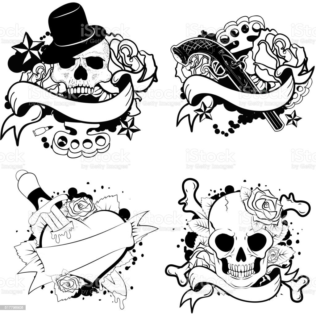 Old School Tattoo Set Stock Illustration Download Image
