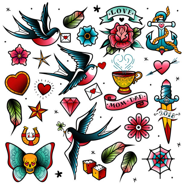 alt school-tattoo-set - vogel tattoos stock-grafiken, -clipart, -cartoons und -symbole