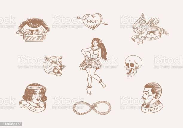 Old school tattoo stickers set hawaiian hula dancer woman hipster man vector id1186354477?b=1&k=6&m=1186354477&s=612x612&h=ytvkqvrpz0tzghfr2cunre  xqiyxguu681gqrw2arm=