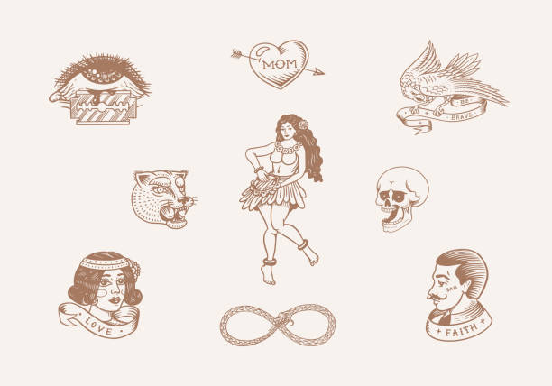 Old school Tattoo stickers set. Hawaiian hula dancer woman, hipster man, lighthouse, panther, skull and snake. Engraved hand drawn vintage retro sketch for notebook or logo Old school Tattoo stickers set. Hawaiian hula dancer woman, hipster man, lighthouse, panther, skull and snake. Engraved hand drawn vintage retro sketch for notebook or logo snakes tattoos stock illustrations