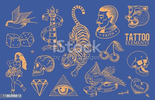 Old school Tattoo stickers set. Hawaiian hula dancer woman, hipster man, lighthouse, panther, skull and snake. Engraved hand drawn vintage retro sketch for notebook or logo