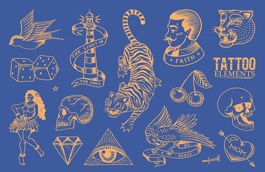 Old school Tattoo stickers set. Hawaiian hula dancer woman, hipster man, lighthouse, panther, skull and snake. Engraved hand drawn vintage retro neon sketch for notebook or logo