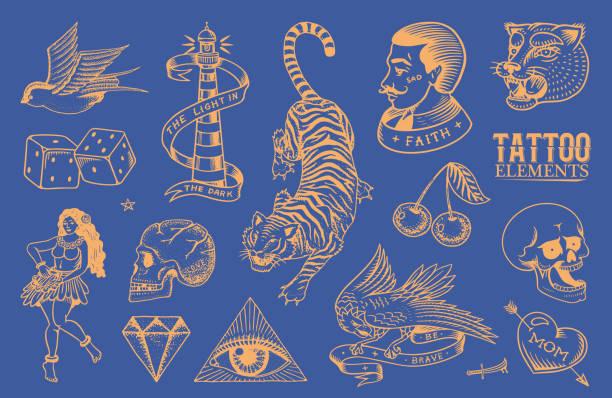 ilustraciones, imágenes clip art, dibujos animados e iconos de stock de conjunto de pegatinas de tatuajes de la vieja escuela. hawaiian hula bailarina mujer, hombre hipster, faro, pantera, cráneo y serpiente. esbozo de neón retro vintage dibujado a mano grabado para cuaderno o logotipo - tatuajes de serpientes