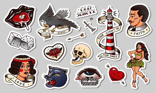 Old school Tattoo stickers set. Hawaiian hula dancer woman, lighthouse, panther, skull and snake. Engraved hand drawn vintage retro sketch for notebook or logo