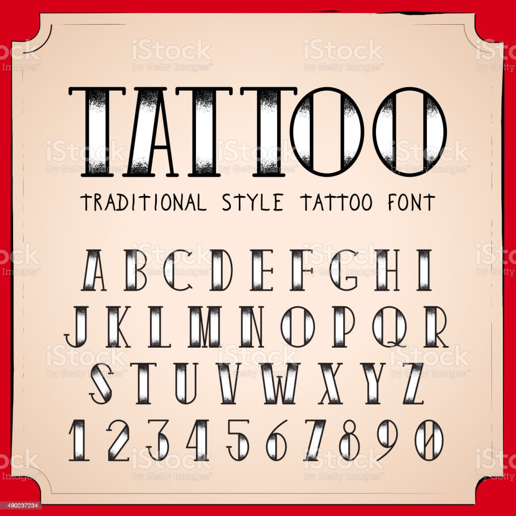 Old School Tattoo Style Font Vector Traditional Ink Alphabet Royalty Free