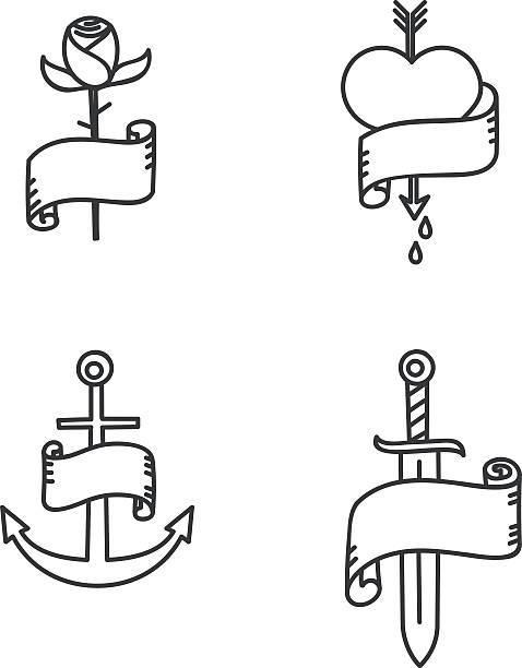 ilustraciones, imágenes clip art, dibujos animados e iconos de stock de old school tatuaje estilo ilustraciones - tatuajes de espadas