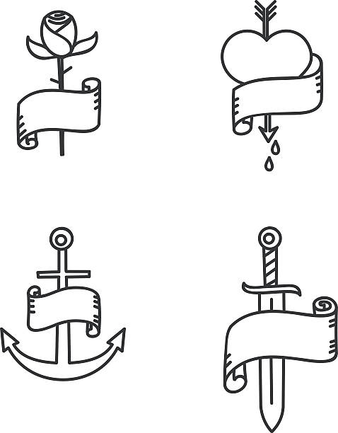 Tatouage illustrations de style Old school - Illustration vectorielle