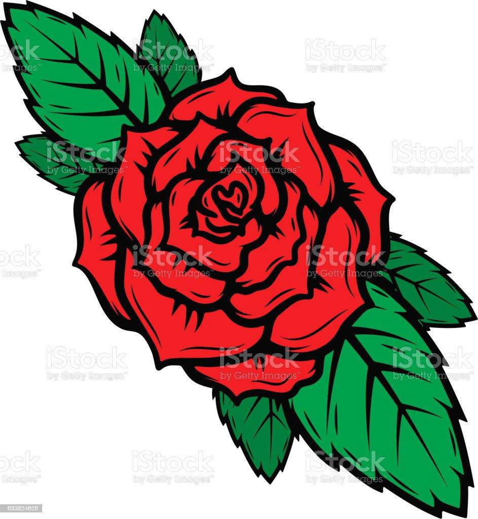 Ilustración De Vieja Escuela Tattoo Estilo Las Rosas Aisladas Sobre