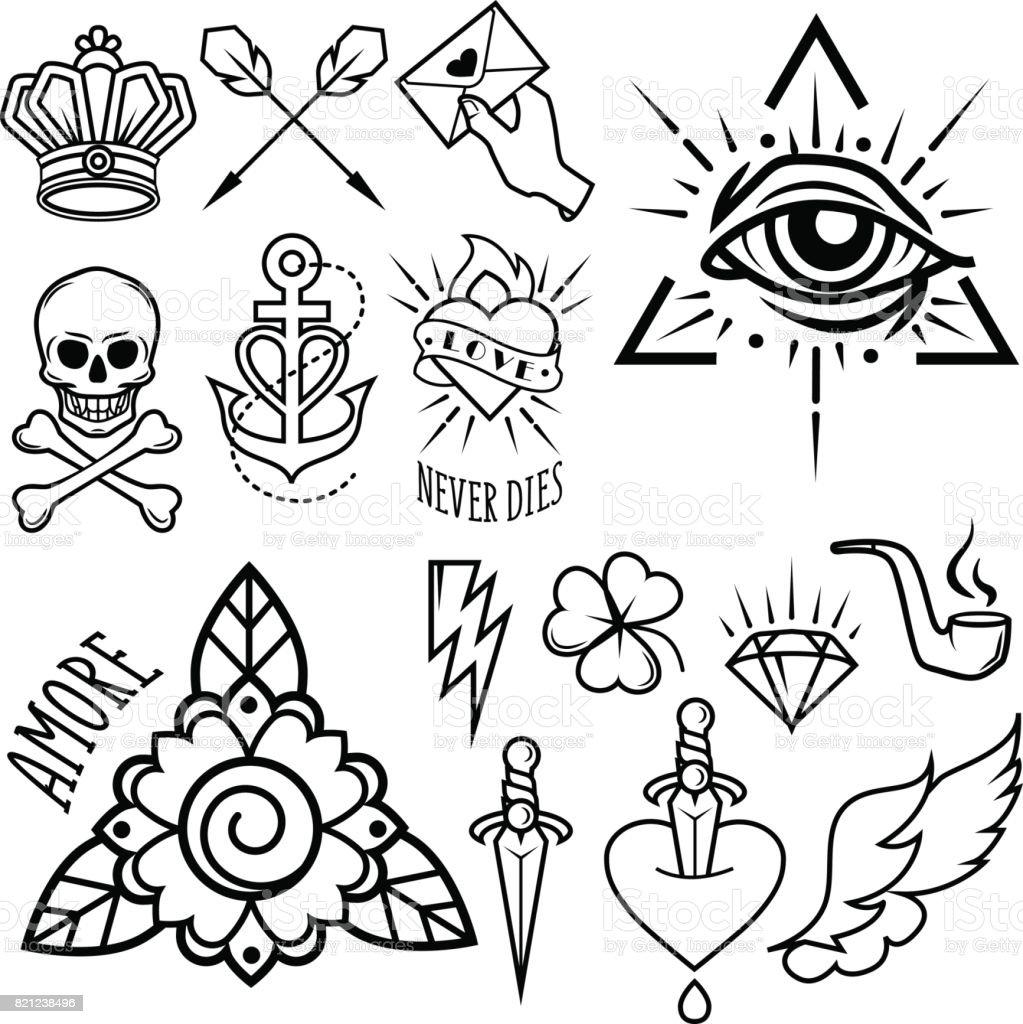 Old school tattoo symbols. Isolated vector image. vector art illustration