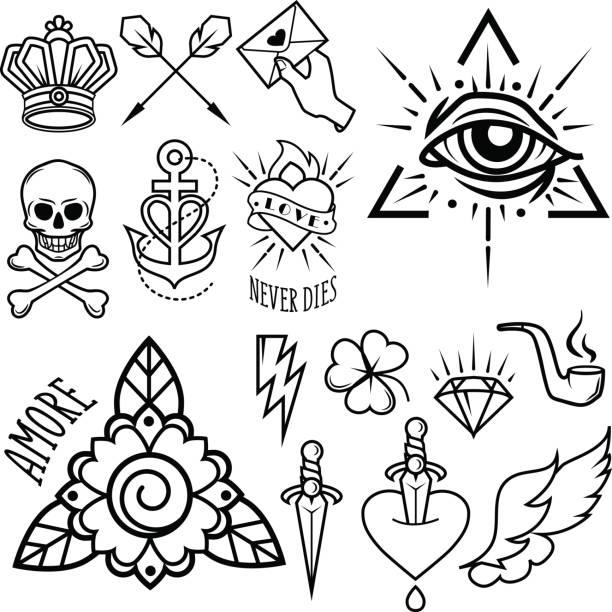 old school tattoo symbols. isolated vector image. - diamond tattoos stock illustrations, clip art, cartoons, & icons