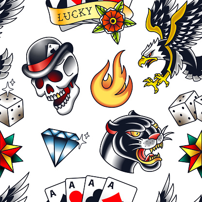 Traditional tattoo vector seamless pattern with popular old school elements: panther, skull, diamond, fire, dice, star, poker cards and eagle. Endless retro style pattern with bright colors. EPS10 vector illustration.