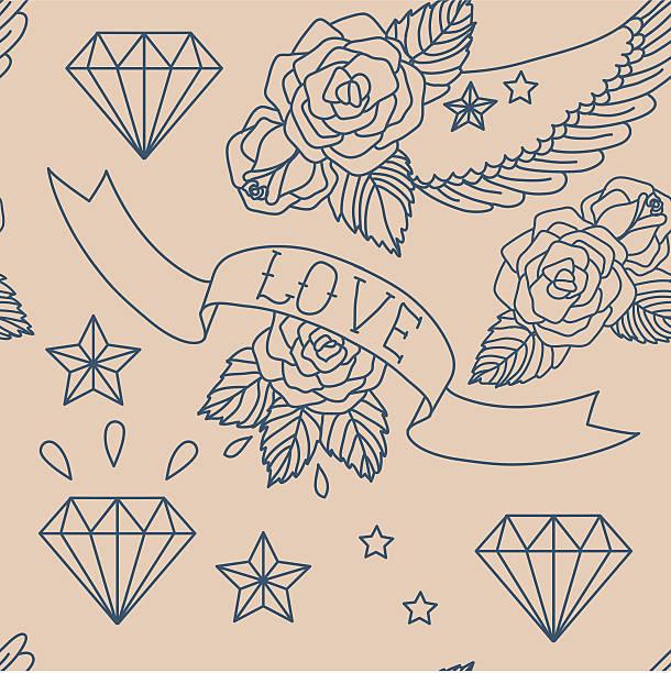 Old school tatuaje. Vector seamless pattern. - ilustración de arte vectorial