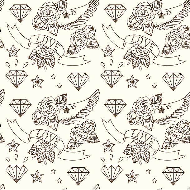 オールドスクールのタトゥーます。ベクトルシームレスなパターン。 - ダイヤモンドのタトゥー点のイラスト素材/クリップアート素材/マンガ素材/アイコン素材