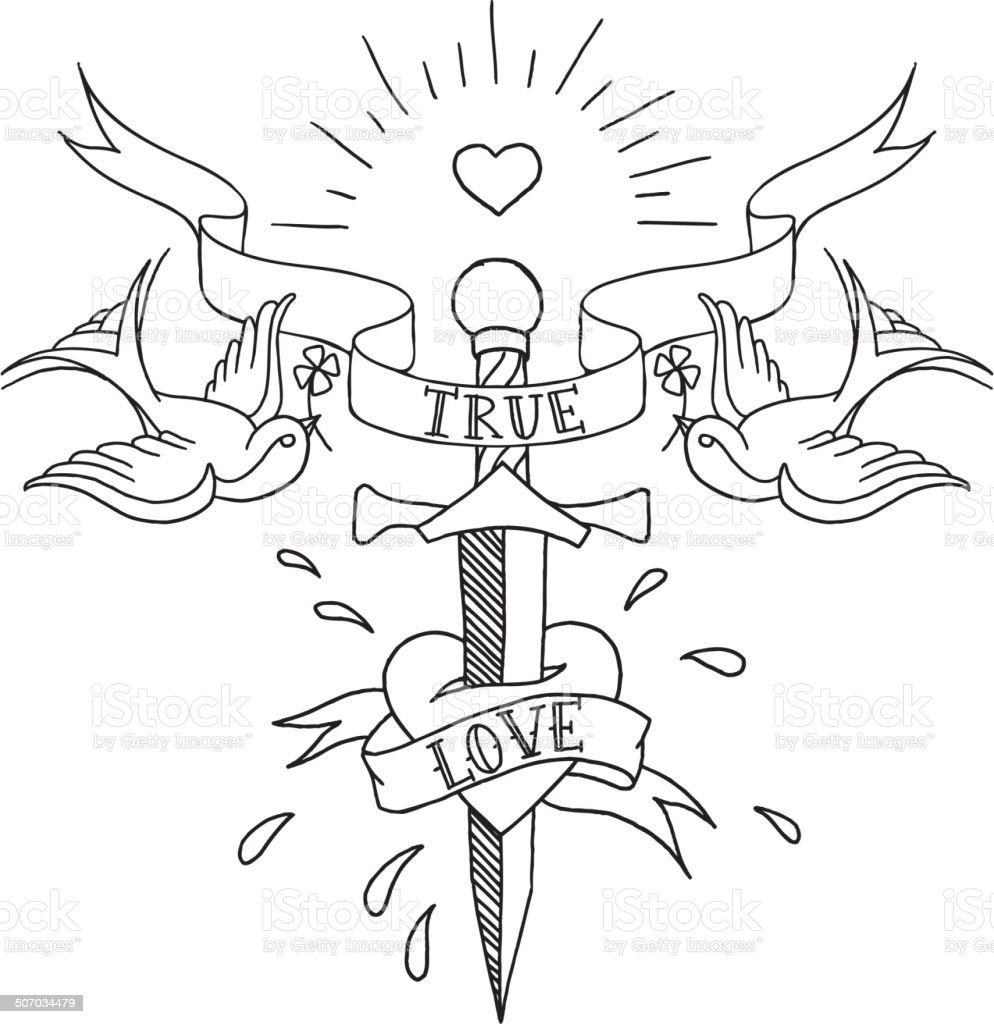 old school tattoos pattern vector art illustration